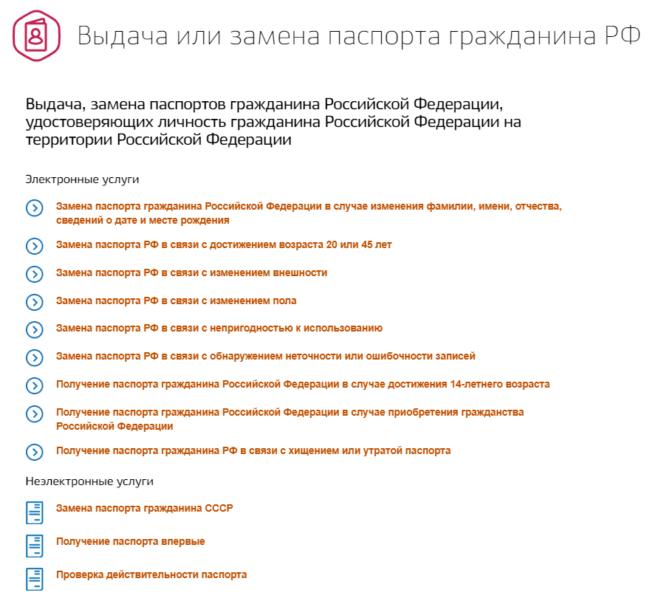 Виды электронных и не электронных услуг при подаче заявления на паспорт через портал Госуслуги ру